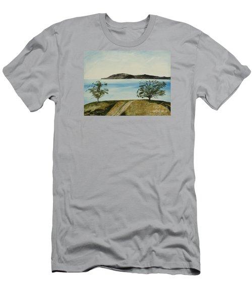 Ventura's Two Trees With Santa Cruz  Men's T-Shirt (Slim Fit) by Ian Donley