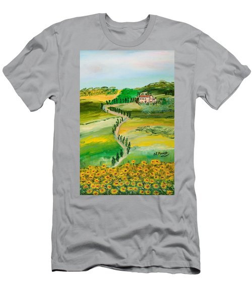 Men's T-Shirt (Slim Fit) featuring the painting Verde Sentiero by Loredana Messina