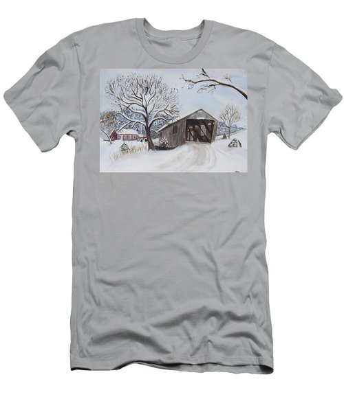 Vermont Covered Bridge In Winter Men's T-Shirt (Athletic Fit)