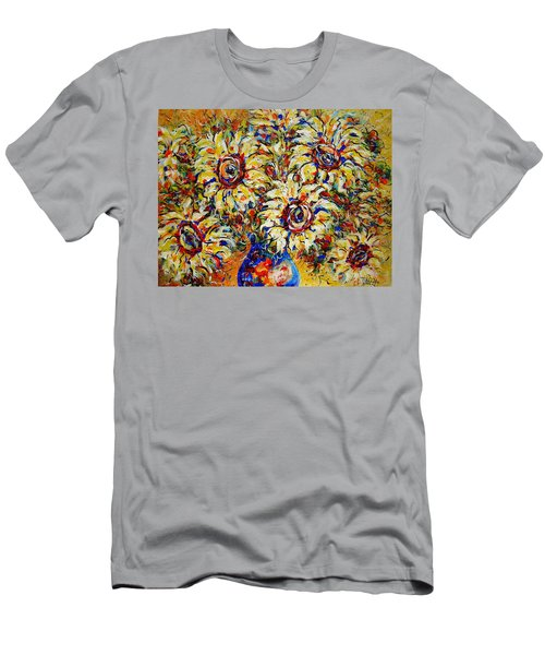 Men's T-Shirt (Slim Fit) featuring the painting Vibrant Sunflower Essence by Natalie Holland