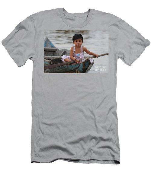 Vietnamese Girl On Lake Tonle Sap Men's T-Shirt (Athletic Fit)