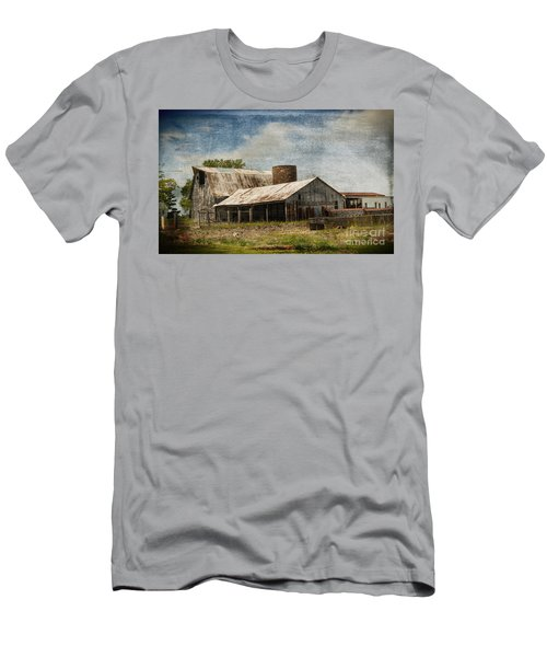 Barn -vintage Barn With Brick Silo - Luther Fine Art Men's T-Shirt (Slim Fit) by Luther Fine Art