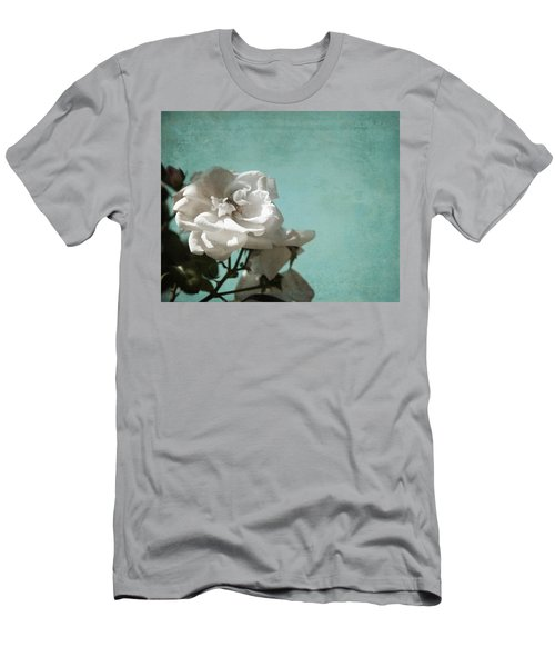 Men's T-Shirt (Slim Fit) featuring the photograph Vintage Inspired White Roses On Aqua Blue Green - by Brooke T Ryan