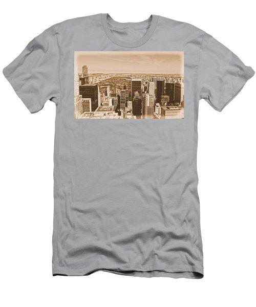 Vintage Manhattan Skyline And Central Park Men's T-Shirt (Athletic Fit)