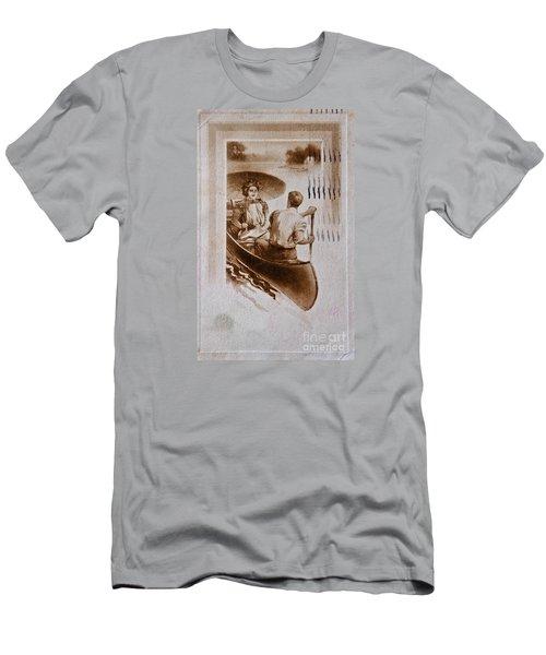 Vintage Post Card Of Couple In Boat Art Prints Men's T-Shirt (Slim Fit) by Valerie Garner