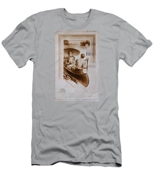 Vintage Post Card Of Couple In Boat Art Prints Men's T-Shirt (Athletic Fit)