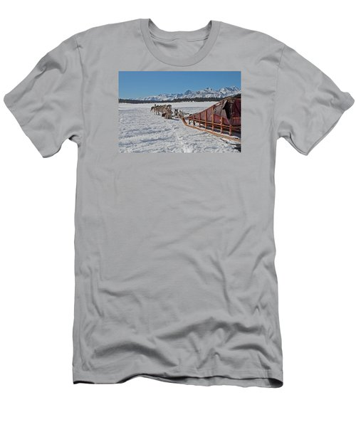 Waiting Sled Dogs  Men's T-Shirt (Slim Fit) by Duncan Selby