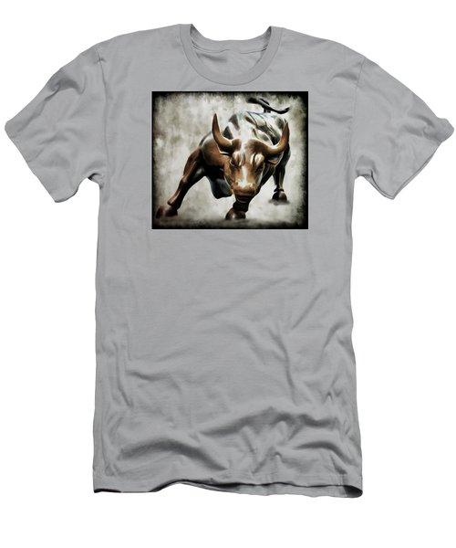 Wall Street Bull II Men's T-Shirt (Slim Fit) by Athena Mckinzie