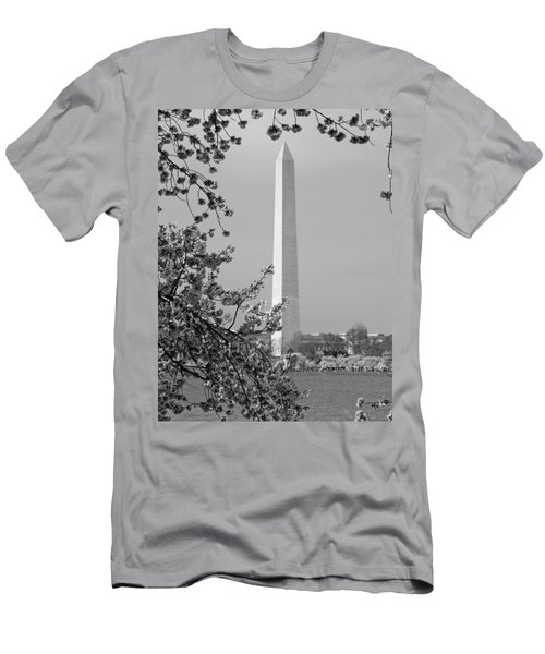 Washington Monument And Cherry Blossoms In April Men's T-Shirt (Athletic Fit)