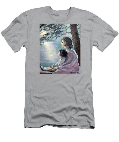 Men's T-Shirt (Slim Fit) featuring the painting Watching The Moon by Donna Tucker