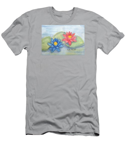 Water   Lillies  Men's T-Shirt (Slim Fit) by Pamela  Meredith