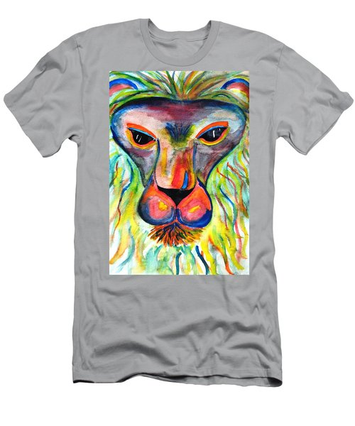 Watercolor Lion Men's T-Shirt (Slim Fit) by Angela Murray