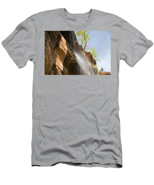 Waterfall Zion National Park Men's T-Shirt (Athletic Fit)