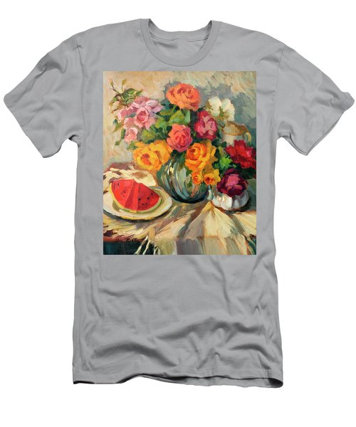 Watermelon And Roses Men's T-Shirt (Athletic Fit)