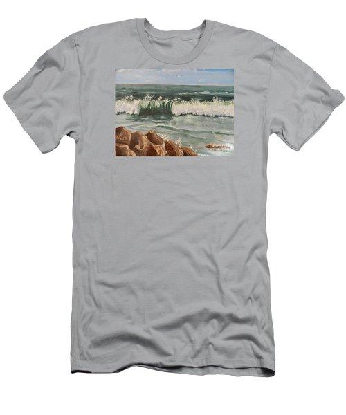 Waves Crashing Men's T-Shirt (Slim Fit) by Pamela  Meredith