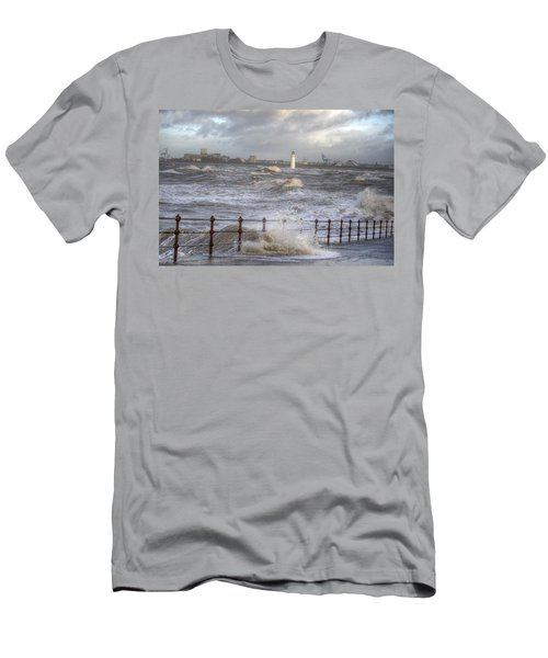 Waves On The Slipway Men's T-Shirt (Slim Fit) by Spikey Mouse Photography