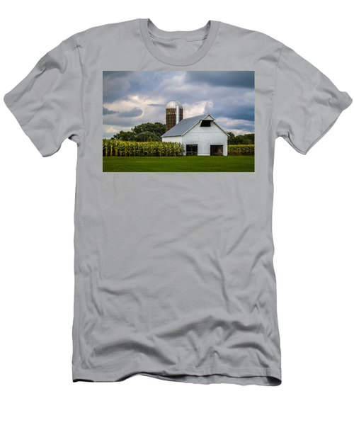 White Barn And Silo With Storm Clouds Men's T-Shirt (Athletic Fit)