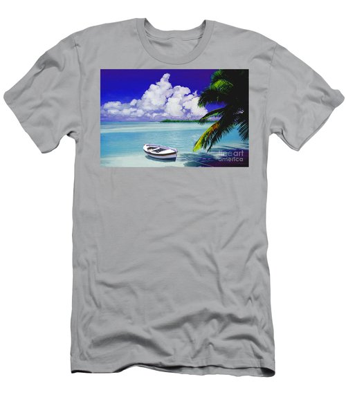 White Boat On A Tropical Island Men's T-Shirt (Slim Fit) by David  Van Hulst