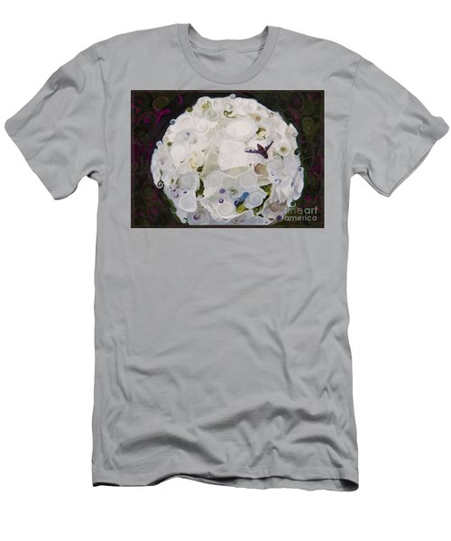 White Flower And Friendly Bee Mixed Media Painting Men's T-Shirt (Athletic Fit)