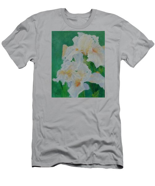 White Irises Original Oil Painting Iris Cluster Beautiful Floral Art Men's T-Shirt (Slim Fit) by Elizabeth Sawyer