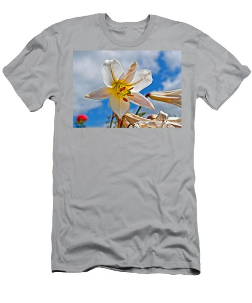 White Lily Flower Against Blue Sky Art Prints Men's T-Shirt (Slim Fit) by Valerie Garner