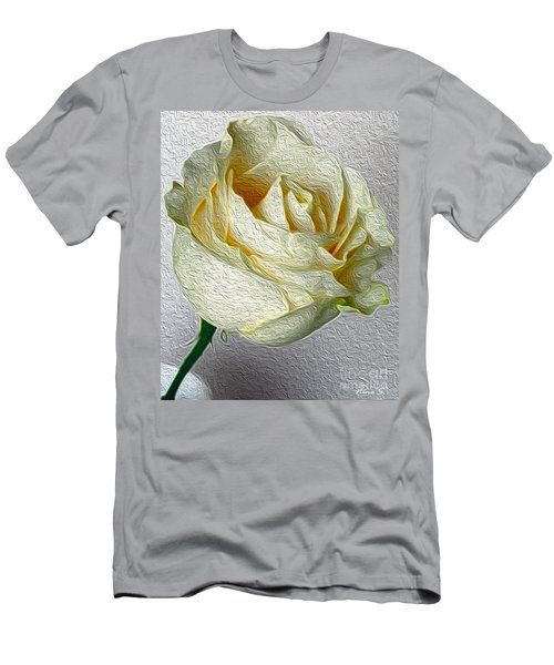 Men's T-Shirt (Slim Fit) featuring the photograph White Rose In Oil Effect by Nina Silver