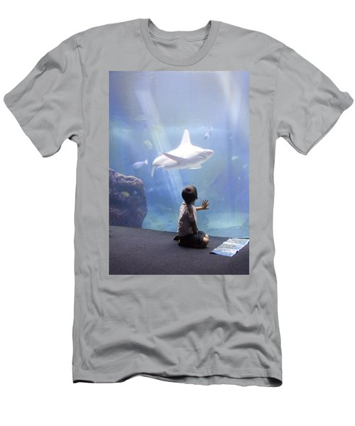 White Shark And Young Boy Men's T-Shirt (Athletic Fit)