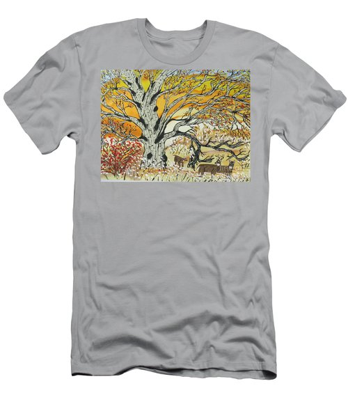 Men's T-Shirt (Slim Fit) featuring the painting Whitetails And White Oak Tree by Jeffrey Koss