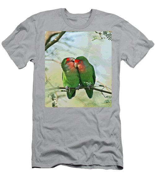 Men's T-Shirt (Slim Fit) featuring the photograph Wild Peach Face Love Bird Whispers by Tom Janca