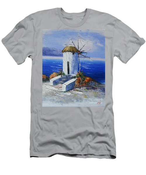 Windmill In Greece Men's T-Shirt (Slim Fit) by Elena  Constantinescu