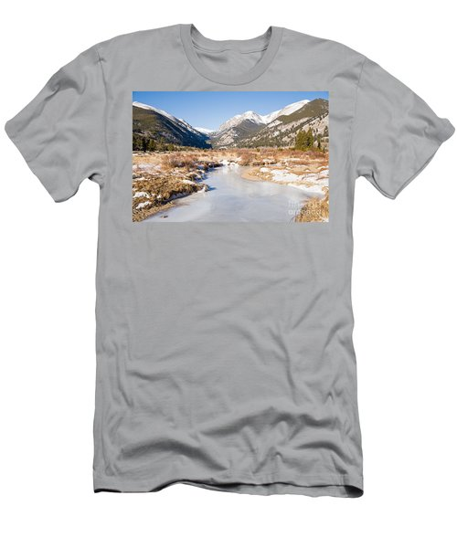 Winter At Horseshoe Park In Rocky Mountain National Park Men's T-Shirt (Athletic Fit)