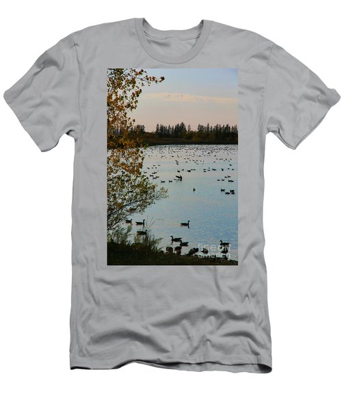 Men's T-Shirt (Slim Fit) featuring the photograph Winter Escape Gathering by Teresa Zieba