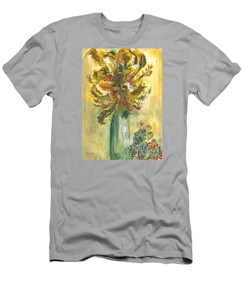 Winter Flowers Men's T-Shirt (Slim Fit) by Veronica Rickard