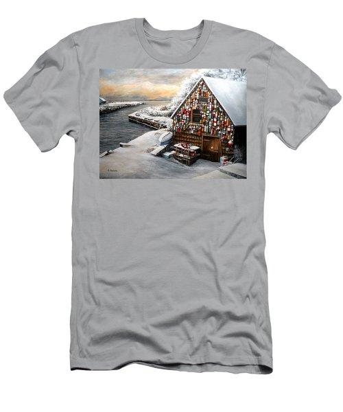 Winter Ipswich Bay Wooden Buoys  Men's T-Shirt (Slim Fit) by Eileen Patten Oliver