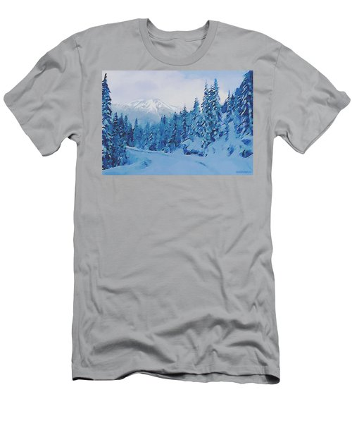 Men's T-Shirt (Slim Fit) featuring the painting Winter Road by Sophia Schmierer