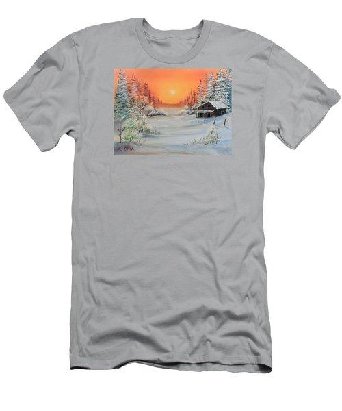 Winter Scene Men's T-Shirt (Slim Fit) by Remegio Onia