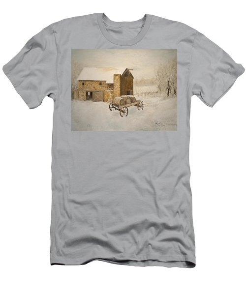Men's T-Shirt (Slim Fit) featuring the painting Winter Wine by Alan Lakin