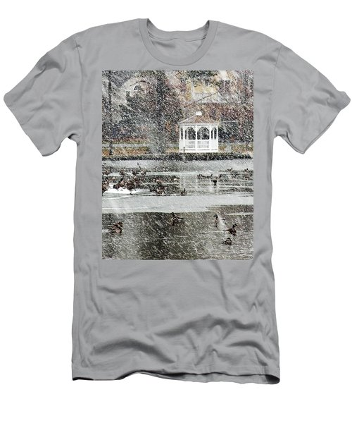 Wintering Geese On Silver Lake Men's T-Shirt (Athletic Fit)