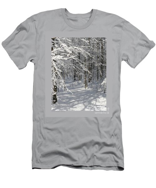 Wintery Woodland Shadows Men's T-Shirt (Slim Fit) by Patricia Overmoyer