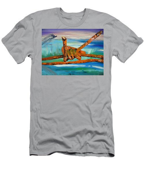 Men's T-Shirt (Slim Fit) featuring the painting Wire by Daniel Janda