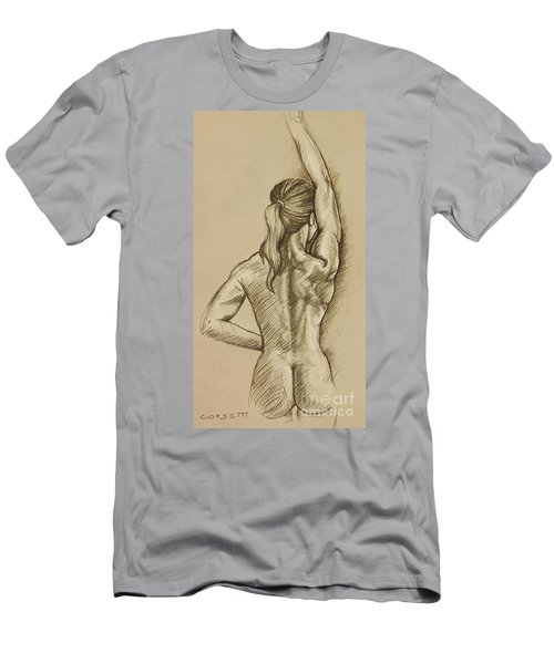 Men's T-Shirt (Slim Fit) featuring the drawing Woman Sketch by Rob Corsetti