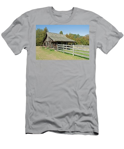 Men's T-Shirt (Slim Fit) featuring the photograph Wooden Barn by Charles Beeler
