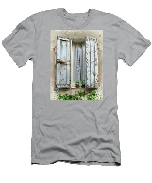 Wooden Shutters In Urbino Men's T-Shirt (Slim Fit) by Jennie Breeze