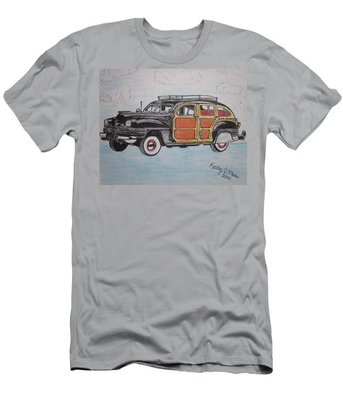 Men's T-Shirt (Slim Fit) featuring the painting Woodie Station Wagon by Kathy Marrs Chandler