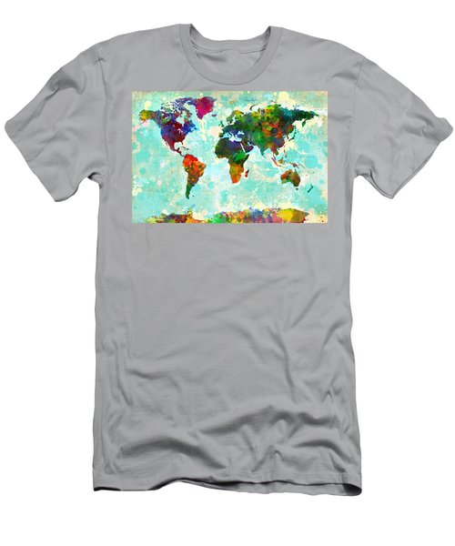 World Map Splatter Design Men's T-Shirt (Athletic Fit)