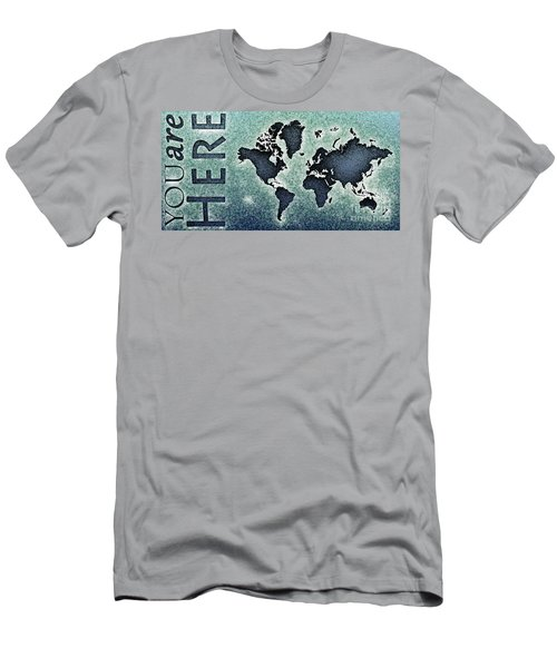 World Map You Are Here Novo In Black And Blue Men's T-Shirt (Athletic Fit)
