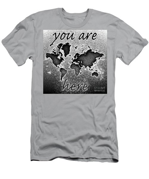 World Map You Are Here Novo In Black And White Men's T-Shirt (Athletic Fit)