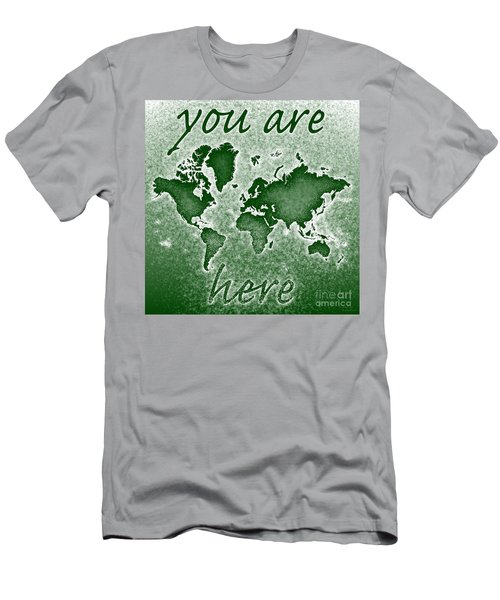 World Map You Are Here Novo In Green Men's T-Shirt (Slim Fit) by Eleven Corners