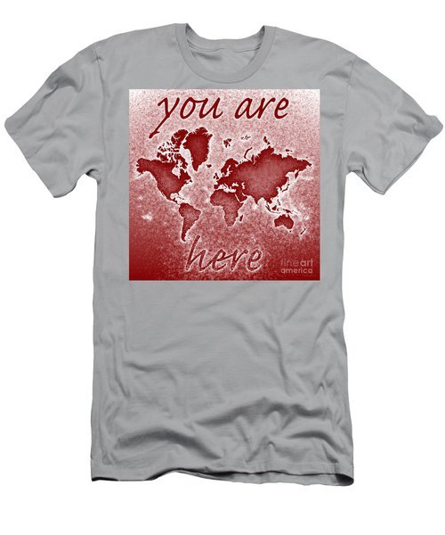 World Map You Are Here Novo In Red Men's T-Shirt (Slim Fit) by Eleven Corners