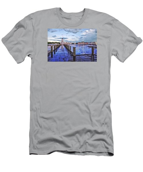 Yacht And Beach Club Lighthouse Men's T-Shirt (Slim Fit) by Thomas Woolworth